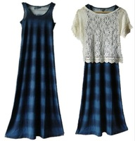 Bohemia fashion stripe 100% cotton sleeveless vest full dress one-piece dress tank skirt dress
