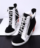 New arrivals free ship womens real leather color pathwork high cut 7.5cm wedge heel platform crystal leisure sneaker sport shoe
