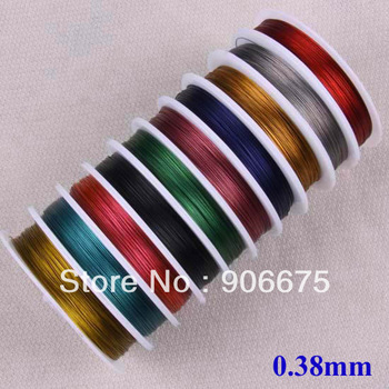 0.38mm Mixed Color Tiger Tail Beading Wire Jewerly Cord Nylon Coated Stainless Steel Wire String Jewelry Making Bulk Wholesale