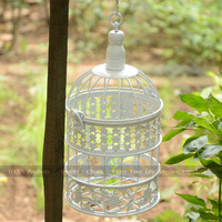 Small Size White Garden Decor Birdcage New Arrival Iron Birdhouse Fashion Iron Decoration Bird cage Free Shipping