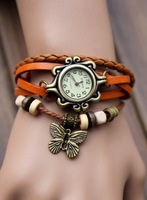 free shipping 2013 fashion Genuine Cow Leather butterfly wrist watch women  vintage tag quartz watch