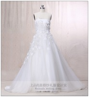 2012 wedding flower princess train tube top wedding dress fashion