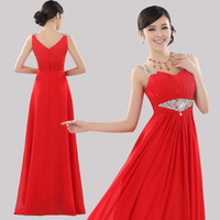2013 spaghetti strap evening formal dress V-neck beading bride long design formal dress red wedding formal dress formal dress