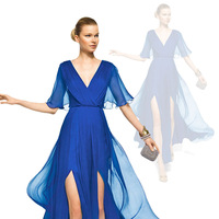 Double-shoulder V-neck speaker half sleeve double placketing full chiffon casual dress evening dress beach wedding dress