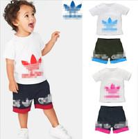 2014 HOT SALES baby boy girl summer short sleeve shirt pant suit children cotton sports set 5set/lot free shipping
