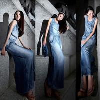 Womens apparel 2013,new summer sleeveless package hip waist was thin split Tencel denim dresses ice silk dress Long dress NZS006