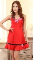 2013 New style Ladies' harness pajamas set silk nightwear home clothing high quality silk Wholesale JZY-1201 Freeshipping