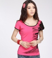 Chinese style national trend women's ink print short-sleeve T-shirt female