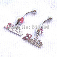 130723-06 lovely cute belly button ring with dangle letter steel navel fake piercing for wedding beautiful lady set cheap