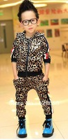 Free Shipping YB04  Boys Personalized Leopard velvet leisure suit children