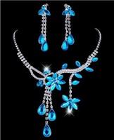 New Fashion Multi-colored Optional Prom Flower Leaf Tassels Rhinestone Crystal Necklace Shining Earring Wedding Jewelry