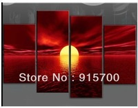 NEW!LARGE RED CANVAS WALL PICTURE SEA SUNSET BEACH + FREE GIFT ( no frame)