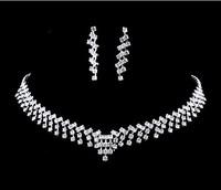 New Simple Wedding Set Necklace Earrings Clear Rhinestone Crystal Women Wedding Party Jewelry