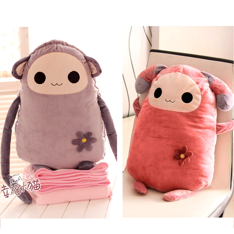 Monkey cat plush toy doll baby doll office cushion pillow is blanket dual(China (Mainland))