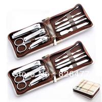 Hot Sales ! Stainless steel finger scissors set nail kits clipper new nail art tool 9 pcs/set manicure pedicure tools zipper bag
