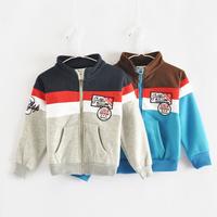 Free shipping boy autumn and winter  zipper sweatshirt cardigan top outerwear thickness with fleece children hoodies jacket