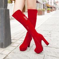 Sexy black red velvet thick heel scrub ultra high heels platform boots brief