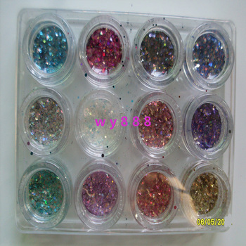 Free Shipping Newest 12 Colors Nail Glitter Dust