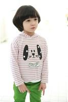 2013 new Wholesale 100%cotton Autumn wear cute girls stripe two-piece hoodie + green pants,5 set/lot,Free Shipping