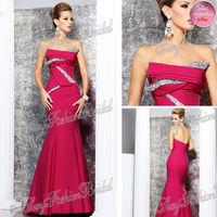 2014 Tarik Ediz Sexy New Dress Strapless With Beaded Mermaid Floor length Satin Party Long Dress Evening Dresses