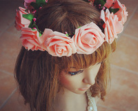 WEDDING FLOWER GARLAND/WEDDING WREATHS/GIRL GARLAND/HAIR BRIDAL/ARTIFICIAL GARLAND/FAKE FLOWER/FESTIVAL HEAD DECORATION