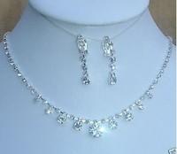 New Fashion Charm Clear Rhinestone Crystal Necklace Earrings Set Bridal Wedding Party Jewelry