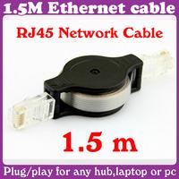 12 pcs/Lot_1.5M Retractable Ethernet LAN RJ45 Network Cable_Free Shipping