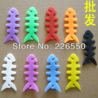 Silicone rubber fish bone earphones/headphone cable/bobbin winder/cord winder/cable holder for iphone MP3,MP4