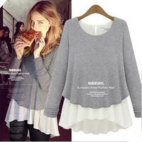 Spring autumn&winter, European style plus size elegant fashion knitted chiffon thick long sleeve ladies t shirt, women's top