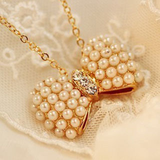 2013 new fashion small fresh bow pearl necklace collarbone chain factory direct wholesale jewelry 129