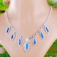 2013 New Fashion Women Elegant Blue Crystal Wedding Party Necklace Earring Jewelry Set