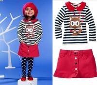 2013 new Wholesale 100%cotton Autumn girls striped shirt 2 sets Set,5 set/lot,Free Shipping