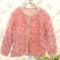 2013 spring and fall new girls sweet rose coat  princess small cardigan solid color 5pcs/lot 2colors free shipping