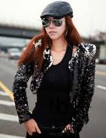 Female singer ds dj jazz dance performance wear costumes ds costume paillette outerwear top