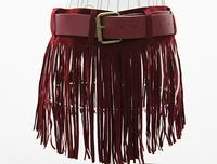 2012 all-match tassel skirt performance wear leather belt tassel dress fashion skorts women's