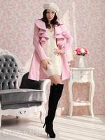 The new qiu dong outfit 2013 long wool coat falbala coat  Women Long V- Neck Ruffle Wool Coat size M, L, XL, XXL