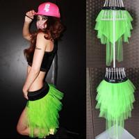 Ds steel pipe jazz dance costumes neon anode-screening costume train skirt t072