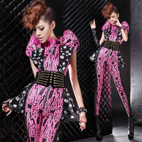 Female singer ds costume fashion punk sparkling diamond sexy bodysuit leopard print bodysuit sleeve