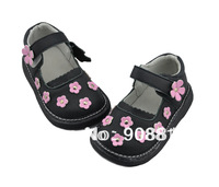 New girls shoes black genuine leather with lovely small flowers mary jane flat sole for student 2013 New,sqeaky shoes squeaker