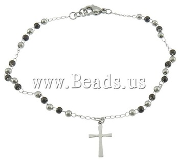Free shipping!!!Stainless Steel Jewelry Bracelet,Wholesale Jewelry, stainless steel lobster clasp, Cross, black ion two-tone