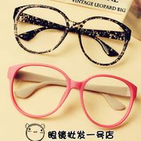 Free wholesale 5pcs/lot hot black round box vintage plain glass spectacles frame non-mainstream myopia