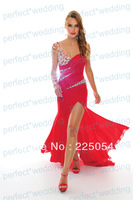 Long Red  Beaded One Sleeve Sweetheart Neckline  Formal Dresses  Evening  Prom Gown Party Dress