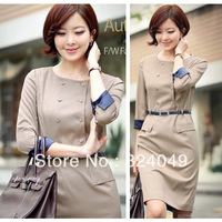 Free shipping 2013 new style high quality women two-line buttons patchwork turn-down sleeve OL Party Bodycon Dress with belt