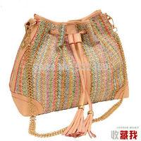 NB032 - Women's Vintage Handbag Straw Bag Woven Bucket Bags Casual Bag Candy Color Big bag