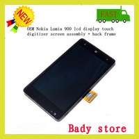 OEM For Nokia Lumia 900 lcd display touch digitizer screen assembly + back frame