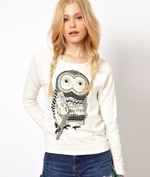 2013 Autumn New Women's European And American Style Fashion Wild Hot Drilling Owl Round Neck Long-Sleeved Sweater