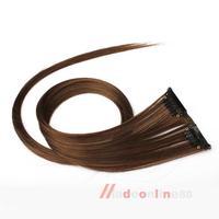 Golden Brown Clip On Hair Straight Extensions Easytouse Long Elegant M3AO