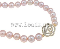 Free shipping!!!925 Sterling Silver Pearl Necklace,Vintage, Cultured Freshwater Pearl, with Cubic Zirconia