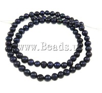 Free shipping!!!Baroque Cultured Freshwater Pearl Beads,Fashion Jewelry Graceful, Round, black, 4-5mm, Hole:Approx 0.8mm