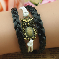 Fashion bracelet owl zinc alloy and black lether cord handmade bracelet customize